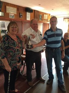 Hazel and Steve receiving the The winners cup for illuminated unit from Chris at this weeks South Suffolk FOL